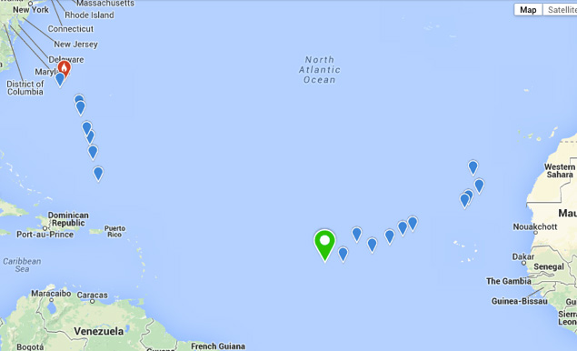 Map shows some of the locations of the Atlantic Odyssey (and of the Sawlty Dog Rally)  reports