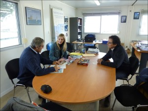 Jimmy Cornell and Pascal Guiraudou discussing logistics and activities program with Magali Hamon, Director of Port Chantereyne Marina