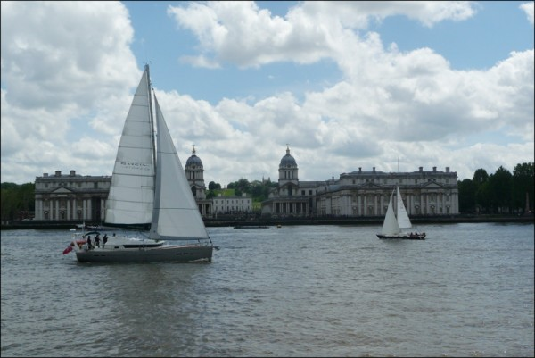 Aventura sails across the Zero Meridian past the Greenwich  Observatory