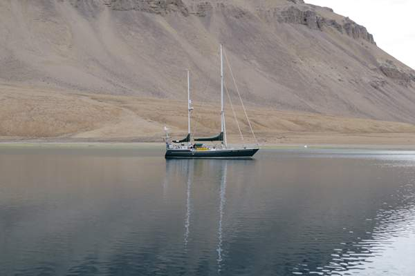 Drina at anchor in Graham Harbour, Devon Island