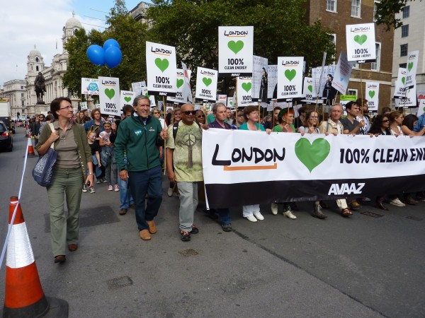 Jimmy Cornell marches with London Clean Energy