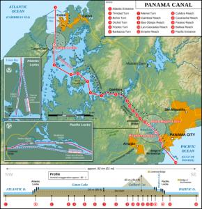 Map of Panama Canal - Source Wikipedia.com