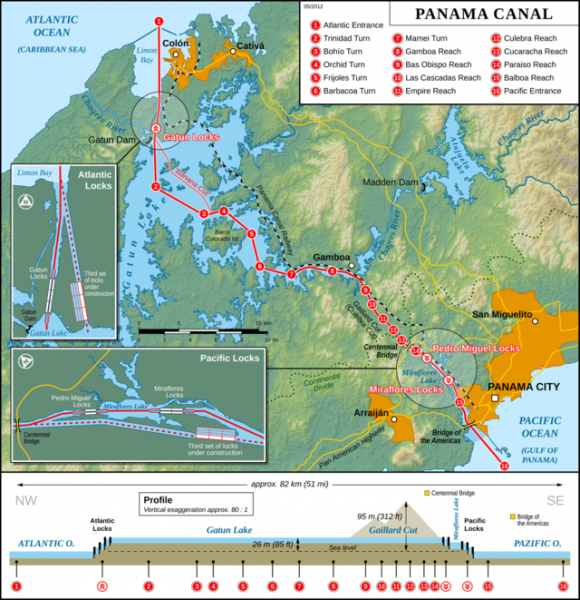 Map of Panama Canal - Source Wikipedia.com - Click to enlarge.