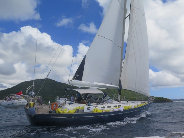Themi sails across the finish line