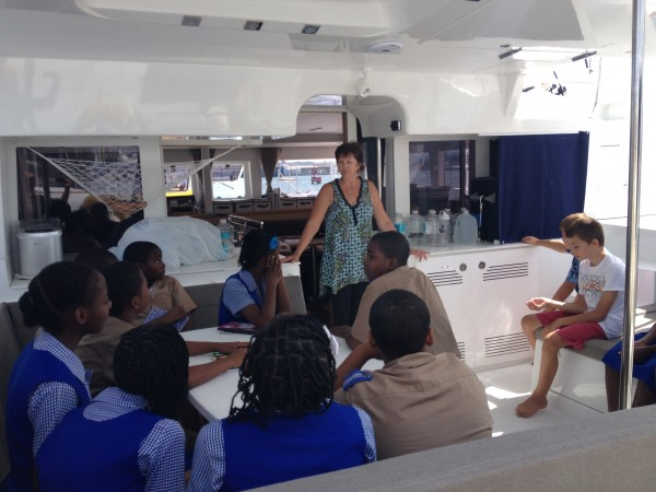 Janet talks to school children aboard Chapter 2