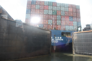 Lock gates closing on a Panamax ship