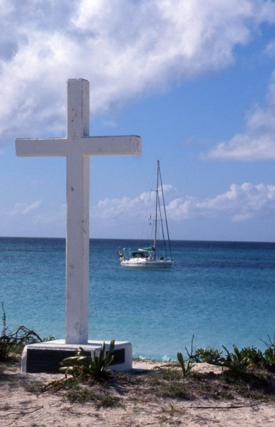 Columbus memorial cross on San Salvador