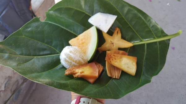 An amazing spread of fresh fruit from their gardens, served on a banana leaf with a stick for a fork. Photo: Chapter Two.