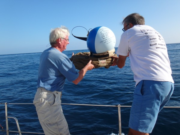 Deploying drifter buoy (3)