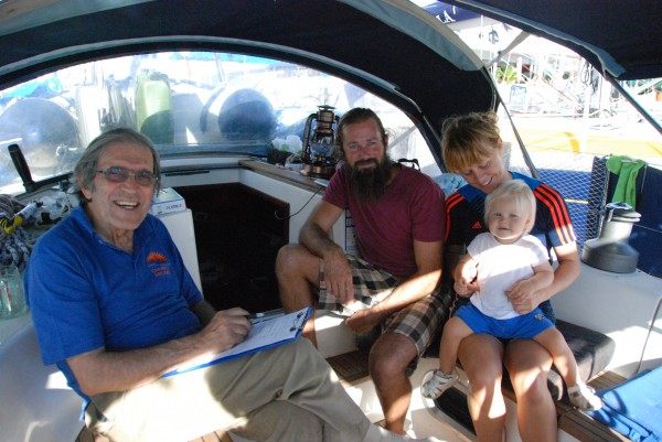 Jimmy Cornell does the safety inspection onboard Norwegian yacht Nangilima with Stian and Irmelin Nybakk-Sviland and youngest participant Ida