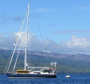 Blue Wind at anchor, Ambrym Island, Vanuatu