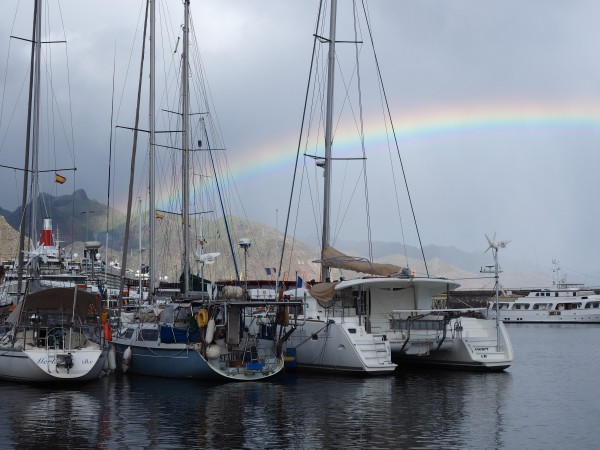 Rainbow over marina