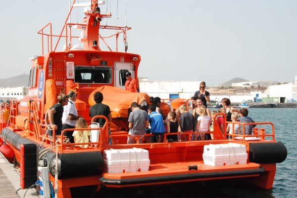 During Saturday afternoon's public safety demonstration, sailors get a chance to tour the life boat