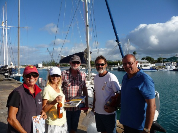 Crew of Sarayu welcomed by Peter Gilkes of Barbados Tourism Promotion