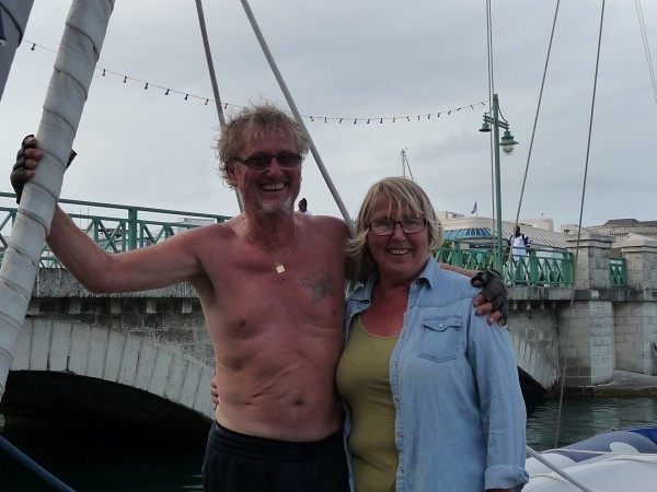 Ingvar and Tuija Lowtangen looking happy amd relieved after an eventful crossing