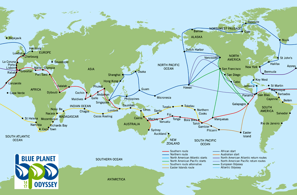 Blue Planet Odyssey Route Map- Click to enlarge